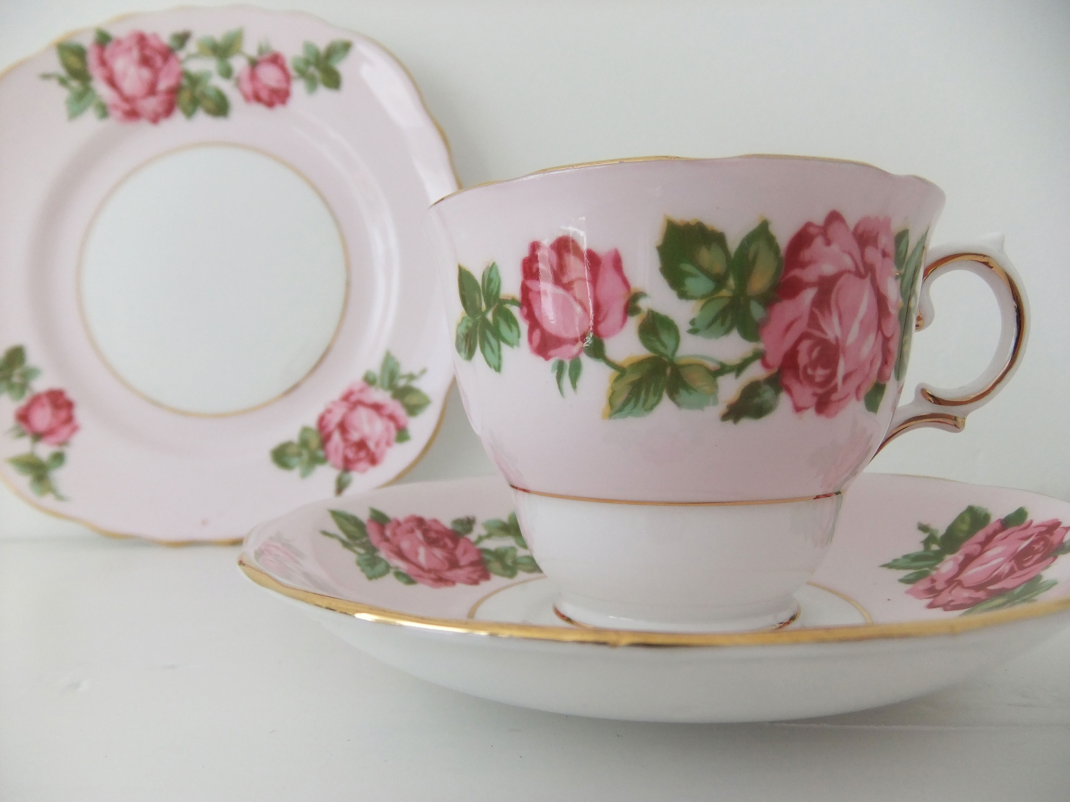 Vintage China tea cup saucer and plate - Vintage Colclough English Bone China - pink with pink roses & Vintage China Tea Cup Saucer And Plate - Vintage Colclough English ...